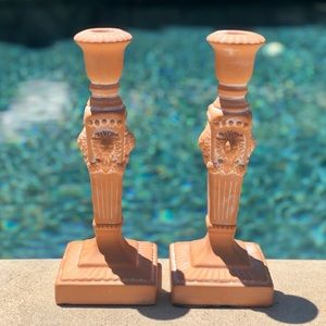 Vintage Terra cotta Candlesticks Lion Head design